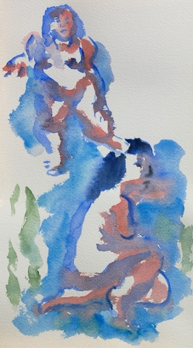 [Image: Katie, Gestures, October 2011, watercolor, 11 x 7 inches]