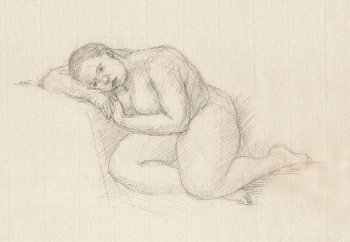 [Image: Resting Figure (Jen), February 17, 2012, graphite, 6 x 10 inches]