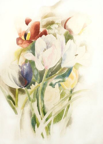 [Image: Charles Demuth, Tulips, 1923, watercolor on paper, 14 x 10 inches, courtesy of Meredith Ward Fine Art]