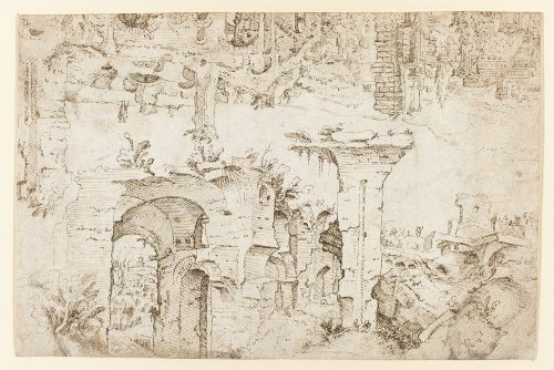 [Image: Maarten van Heemskerk, Ruins on the Palatine Hill in Rome (recto), circa 1532-1537, pen and brown ink, Rijksmuseum, Amsterdam, gift of the heirs of I.Q. van Regteren Altena, Amersfoort]