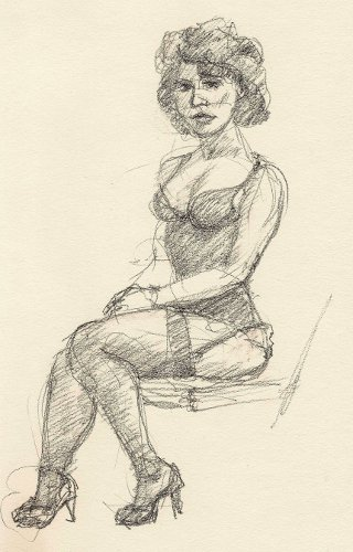 [Image: Ludella Hahn at Dr. Sketchy's, March 11, 2012]