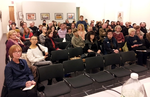 [Image: Phone camera shot of the audience in the Nataional Academy auditorium, February 24, 2012]