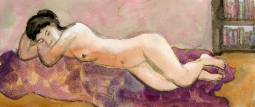 [Image: Franklin Einspruch, Royalty, 2012, gouache and watercolor on paper, 5 1/2 x 12 1/2 inches]