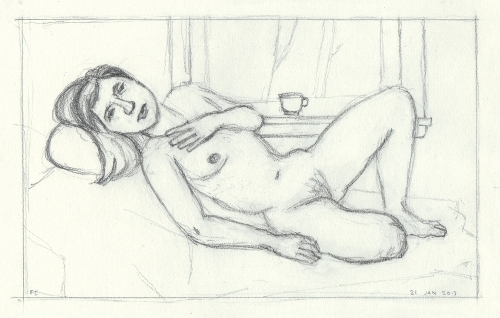 [Image: Katie 1, January 21, 2013, graphite on paper, 6 1/2 x 10 1/4 inches]