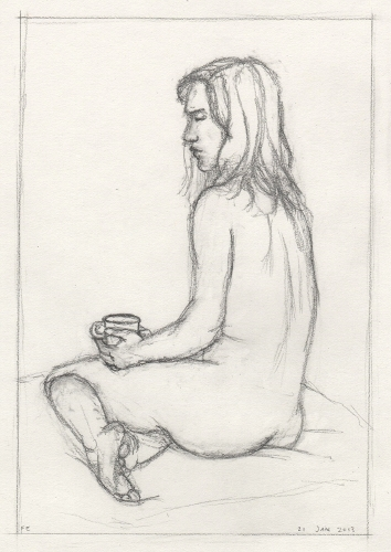 [Image: Katie 2, January 21, 2013, graphite on paper, 9 3/4 x  6 5/8 inches]