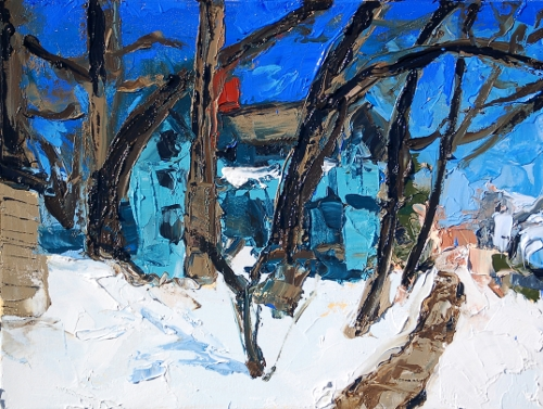 [Image: Snow and Curving Oaks, 2011, oil on canvas, 18 x 24 inches]