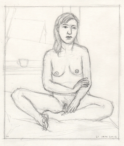 [Image: Katie 3, January 21, 2013, graphite on paper, 8 1/4 x 7 1/8 inches]