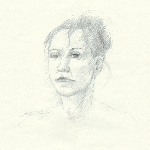 [Image: Shelter in Place Portrait (JRT), April 19, 2013, graphite on paper, 7 x 7 inches]
