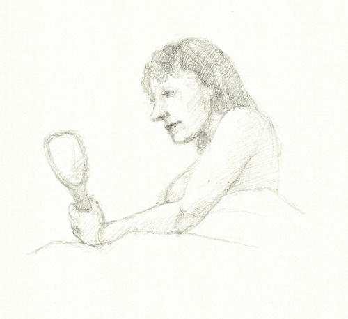 [Image: Hand Mirror, September 17, 2013, pencil on paper, 6 x 6 inches]