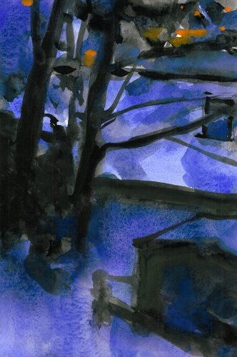 [Image: Winter Evening, 2 Jan 2014, gouache, 12 x 8 inches]
