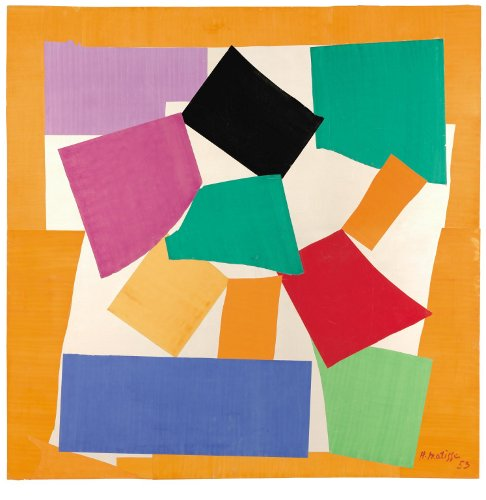 [Image: Henri Matisse, The Snail, 1953, gouache on paper, cut and pasted on paper mounted on canvas, collection of the Tate Gallery, 2864 x 2870 mm (]