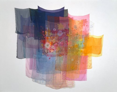 [Image: Jim Hodges, With the Wind, 1997, scarves, thread, 90 x 99 inches overall, collection Glenn and Amanda Fuhrman, New York, courtesy The FLAG Art Foundation, photo by Alan Zindman, © Jim Hodges]