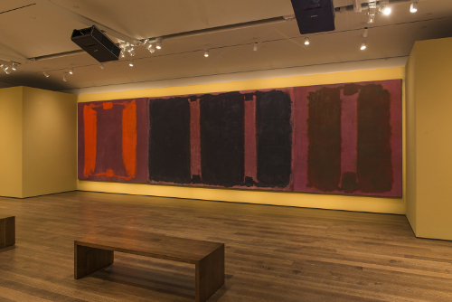 "[Image: Mark Rothko's Panel One, Panel Two, and Panel Three (Harvard Mural Triptych), with restored colors using light from digital projectors in the exhibition ""Mark Rothko's Harvard Murals,"" Kate Rothko Prizel and Christopher Rothko/Artists Rights Society (ARS), New York. Photo: Peter Vanderwarker, © President and Fellows of Harvard College]"