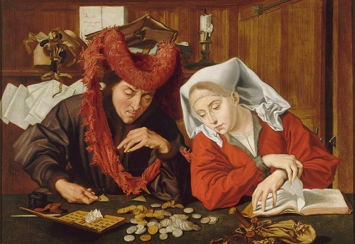 [Image: Marinus van Reymerswale, The Moneychanger and His Wife, 1538, oil on panel, Musée des Beaux-Arts de Nantes (]