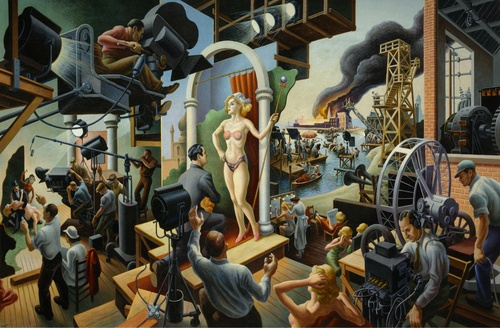[Image: Thomas Hart Benton, Hollywood, 1937-38. Tempera with oil on canvas, mounted on board, 56 x 84 inches. The Nelson-Atkins Museum of Art, Kansas City, Missouri. Bequest of the artist. Photo by Jamison Miller. © Benton Testamentary Trusts/UMB Bank Trustee/Licensed by VAGA, New York, NY.]