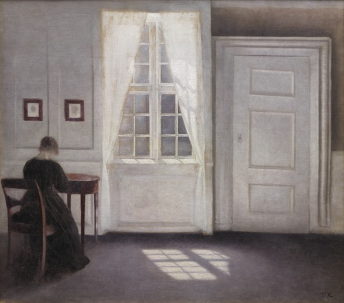 [Image: Vilhelm Hammershøi, Interior in Strandgade, Sunlight on the Floor, 1901, oil on canvas, 18 1/3 x 20 1/2 inches, Statens Museum for Kunst]