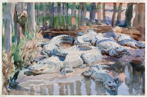 [Image: John Singer Sargent, Muddy Alligators, 1917, watercolor over graphite with masking out and scraping on wove paper, sheet 13 9/16 × 20 7/8 inches, Worcester Art Museum, Sustaining Membership Fund, courtesy of the Philadelphia Museum of Art]