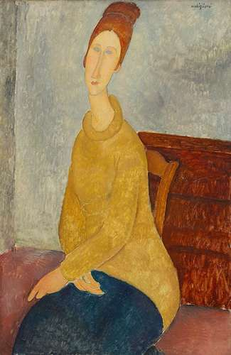[Image: Amedeo Modigliani, Jeanne Hébuterne with Yellow Sweater, 1918-19. Oil on canvas. 39⅜ x 25½ in. (100 x 64.7 cm). Solomon R. Guggenheim Museum, By gift 37.533. Image provided by Solomon R. Guggenheim Foundation / Art Resource, New York]