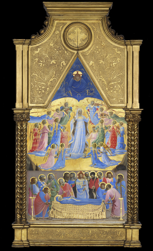 [Image: Fra Angelico, The Dormition and Assumption of the Virgin, 1424–34. Tempera with oil glazes and gold on panel, Isabella Stewart Gardner Museum, Boston]