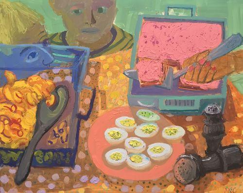 [Image: Ashley Norwood Cooper, Deviled Eggs and Pink Cake, 2017]