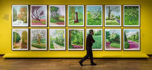 [Image: Installation view of the David Hockney deal at the Van Gogh Museum. Taken without permission from ]