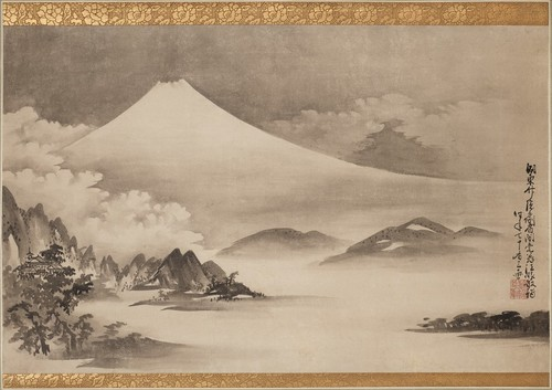 [Image: Takada Keiho, Mount Fuji, Miho Pine Forest, and Seikenji Temple, 1746, courtesy of the Harvard Art Museums]