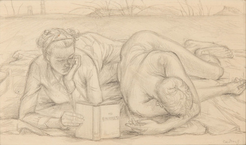 """[Image: Paul Cadmus, Study for """"To E.M. Forster"""", circa 1948, graphite on paper, 4 × 6 1/2 inches]"""