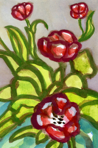 [Image: Tulips in Vase, 2021, watercolor and egg tempera on paper, 9 x 6 inches]
